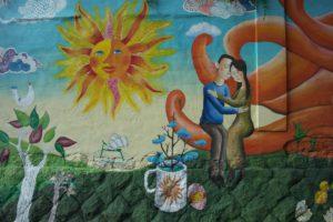 rue fleur La peinture art mural Séoul art moderne peinture acrylique Peintures murales coréennes Daehakro Photos sud corée Village mural Art enfant
