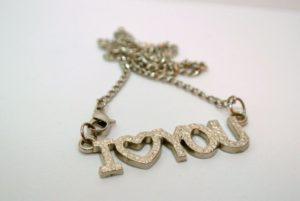chaîne amour cœur métal romantique Collier bracelet bijoux argent pendentif la Saint-Valentin je t'aime déclaration d'amour médaillon Accessoires de mode