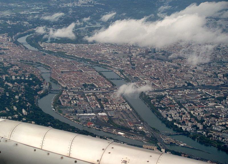 File:Presqu'île de Lyon depuis un vol Londres - Lyon.jpg